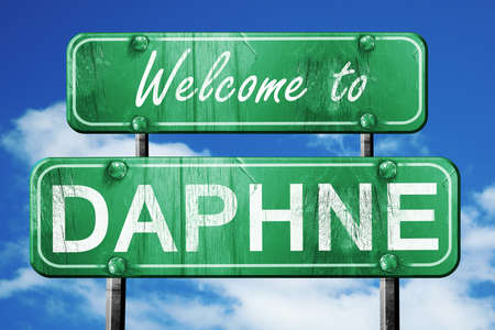 dafne: Welcome to daphne green road sign