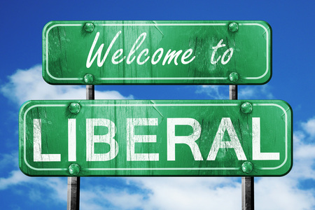 liberal: Welcome to liberal green road sign