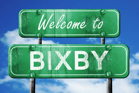 bixby: Welcome to bixby green road sign