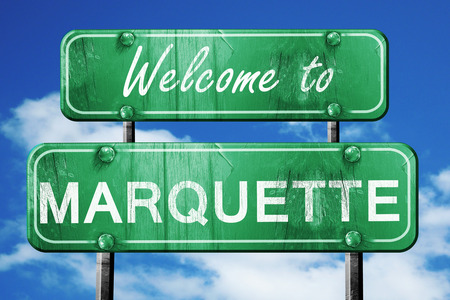 marquette: Welcome to marquette green road sign Stock Photo