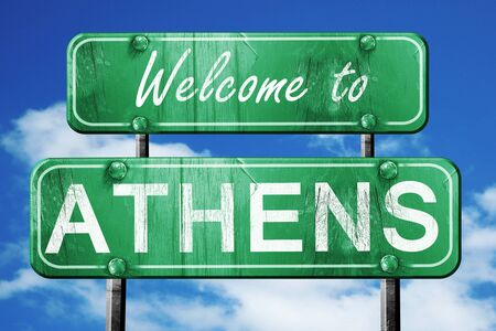 athens: Welcome to athens green road sign