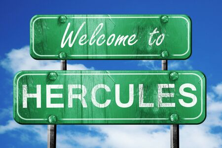 hercules: Welcome to hercules green road sign