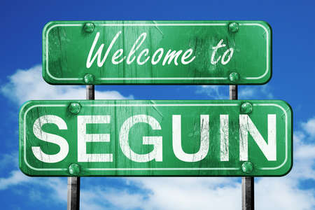 green road sign: Welcome to seguin green road sign Stock Photo