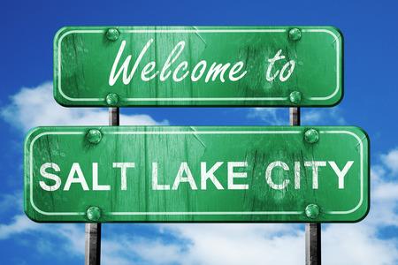 salt lake city: Welcome to salt lake city green road sign