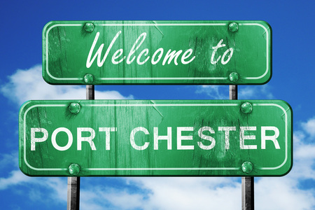 chester: Welcome to port chester green road sign Stock Photo
