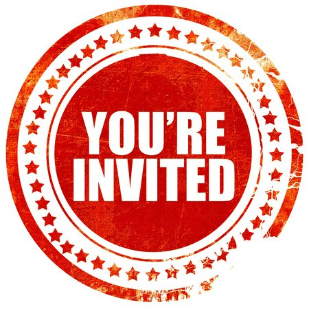 you're invited, isolated red stamp on a solid white background