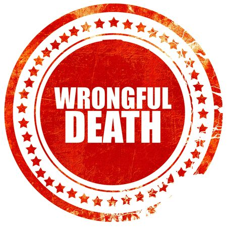 wrongful: wrongful death, isolated red stamp on a solid white background