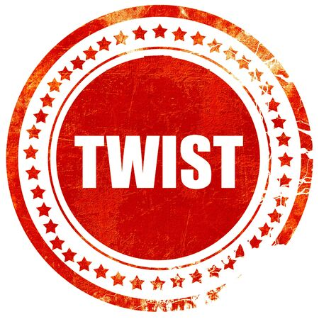 counterculture: twist dance, isolated red stamp on a solid white background