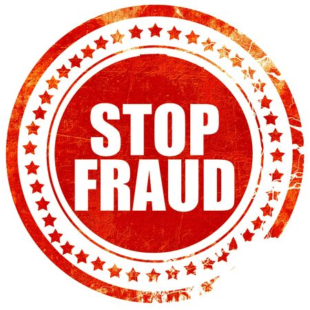hoax: stop fraud, isolated red stamp on a solid white background
