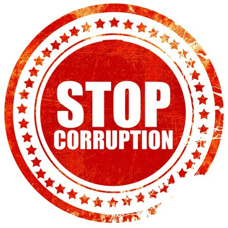 stop corruption, isolated red stamp on a solid white background