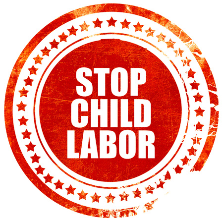 illegality: stop child labor, isolated red stamp on a solid white background
