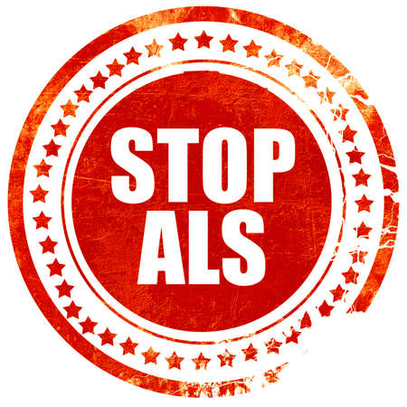 als: stop als, isolated red stamp on a solid white background
