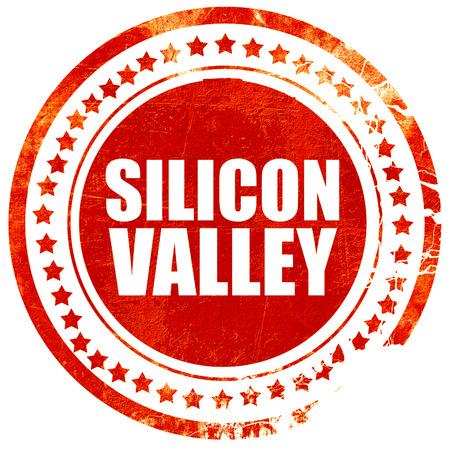 silicio: Silicon Valley, aislado sello rojo sobre un fondo blanco s�lido
