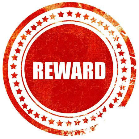 reward, isolated red stamp on a solid white background