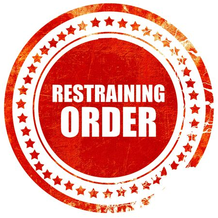 restraining: restraining order, isolated red stamp on a solid white background Stock Photo