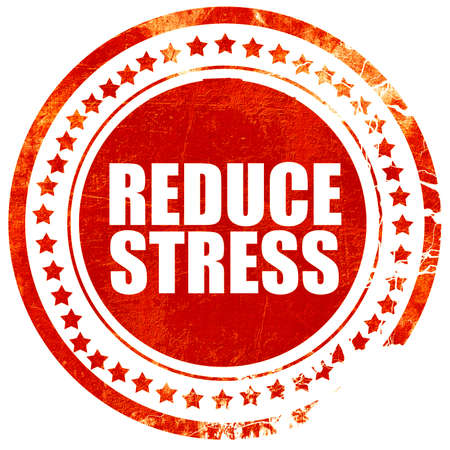 meditation help: reduce stress, isolated red stamp on a solid white background Stock Photo