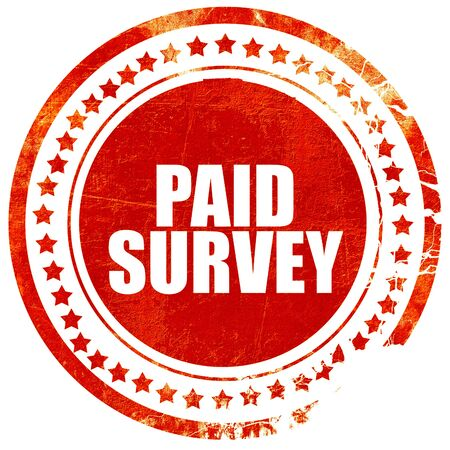 criticize: paid survey, isolated red stamp on a solid white background Stock Photo
