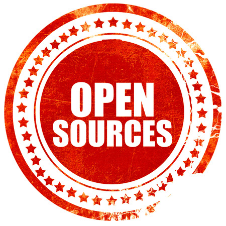 sourcing: open sources, isolated red stamp on a solid white background