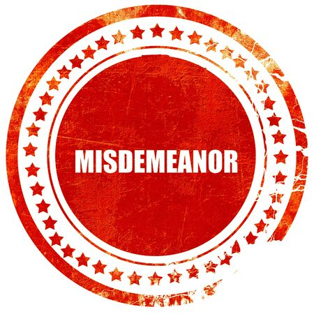 misdemeanor: misdemeanor, isolated red stamp on a solid white background Stock Photo