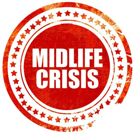 midlife: midlife crisis, isolated red stamp on a solid white background