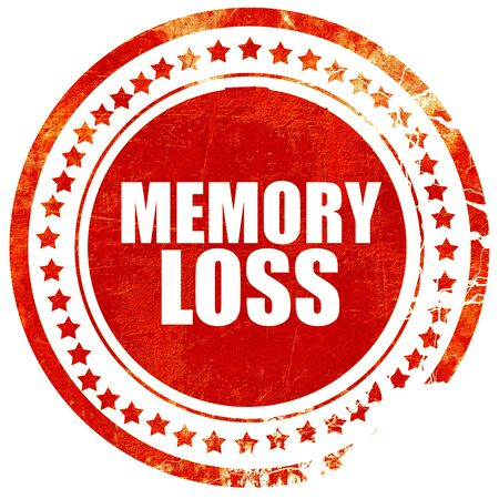 memory loss: memory loss, isolated red stamp on a solid white background