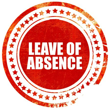 absence: leave of absence, isolated red stamp on a solid white background