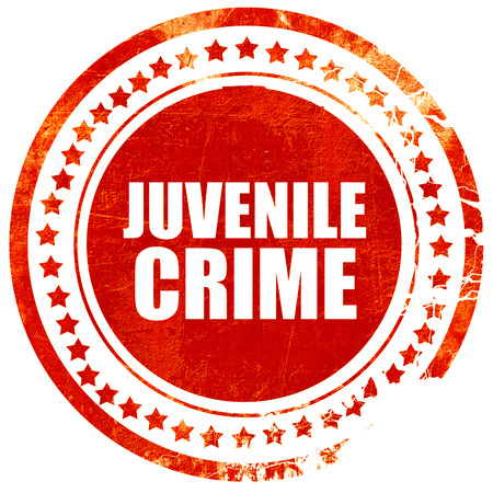 juvenile delinquent: juvenile crime, isolated red stamp on a solid white background