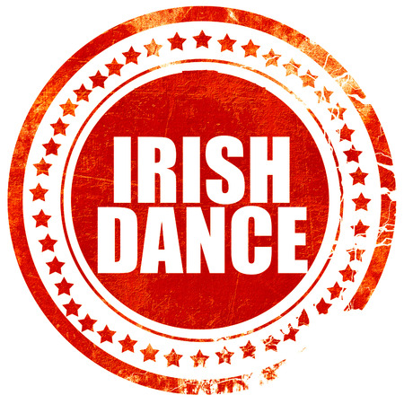 triskel: irish dance, isolated red stamp on a solid white background