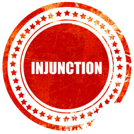 injunction: injunction, isolated red stamp on a solid white background