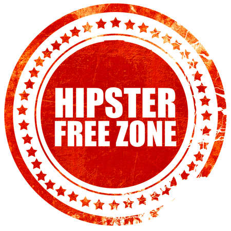 restaurateur: hipster free zone, isolated red stamp on a solid white background Stock Photo
