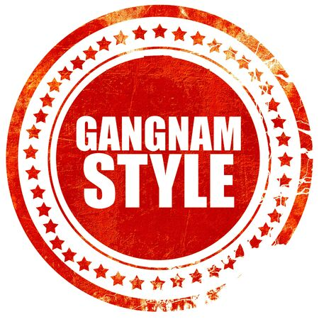 travesty: gangnam style, isolated red stamp on a solid white background