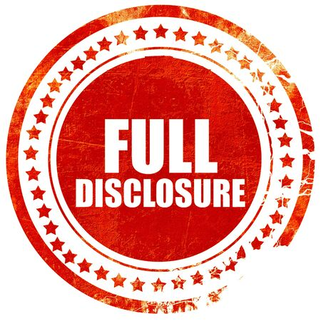 disclosure: full disclosure, isolated red stamp on a solid white background