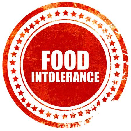 intolerancia: intolerancia a los alimentos, aislado sello rojo sobre un fondo blanco s�lido
