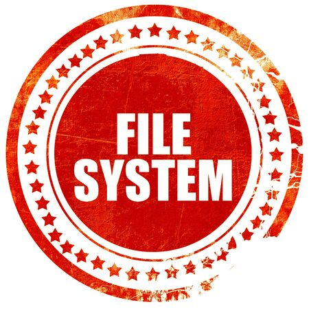 custom cabinet: file system, isolated red stamp on a solid white background