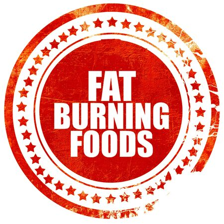 fat burning: fat burning foods, isolated red stamp on a solid white background