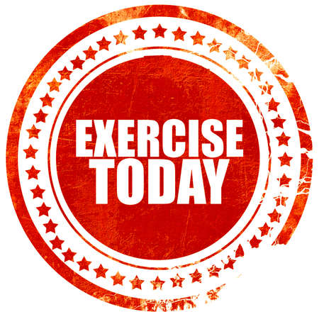 today: exercise today, isolated red stamp on a solid white background