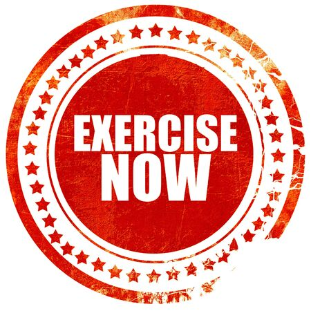 newer: exercise now, isolated red stamp on a solid white background Stock Photo