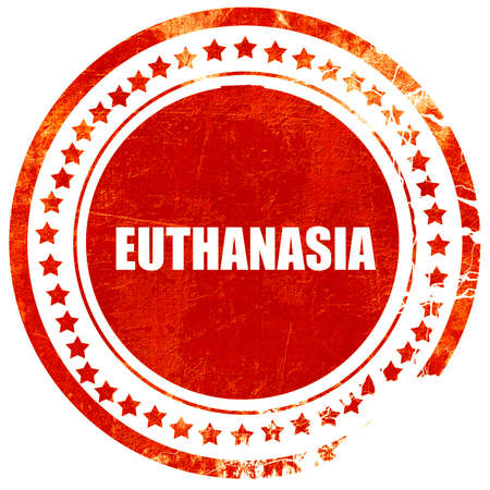 explanations: euthanasia, isolated red stamp on a solid white background