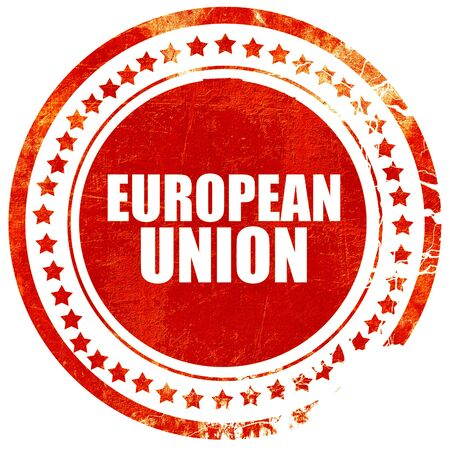 election commission: european union, isolated red stamp on a solid white background