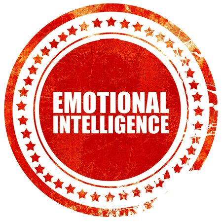 emotional intelligence, isolated red stamp on a solid white background