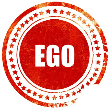 ego: ego, isolated red stamp on a solid white background