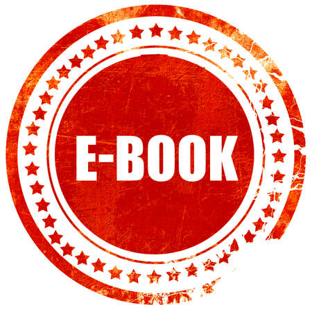 databank: e-book, isolated red stamp on a solid white background