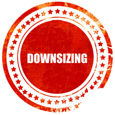 downsize: downsizing, isolated red stamp on a solid white background