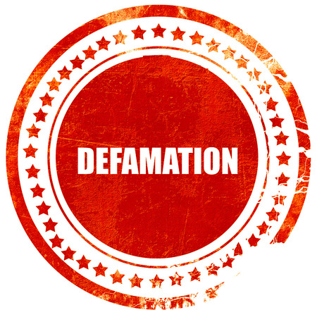 libel: defamation, isolated red stamp on a solid white background
