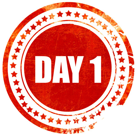 day 1, isolated red stamp on a solid white background