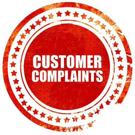 complaints: customer complaints, isolated red stamp on a solid white background