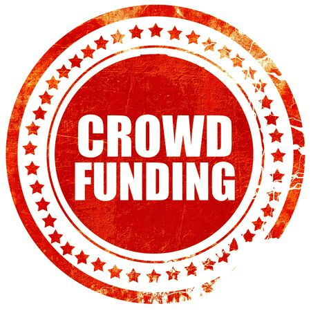 crowd funding, isolated red stamp on a solid white background