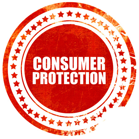 consumer rights: consumer protection, isolated red stamp on a solid white background