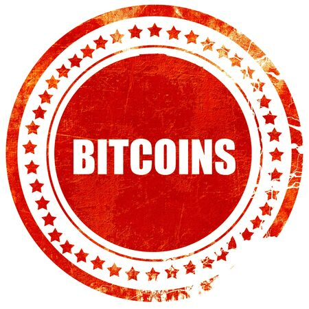 net trade: bitcoins, isolated red stamp on a solid white background