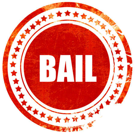 bail: bail, isolated red stamp on a solid white background
